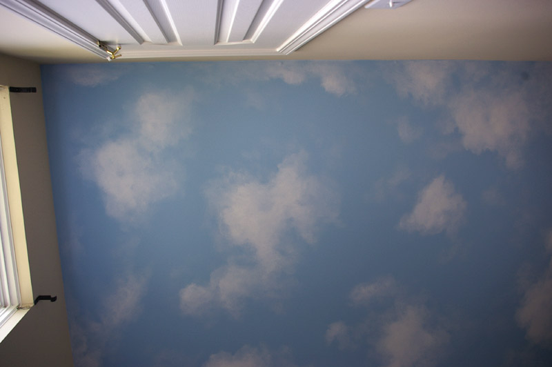 Painted ceilings on pinterest cloud ceiling ceilings for How to make clouds on ceiling
