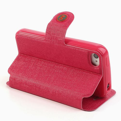 Oracle Grain Wallet Leather Case Cover with Stand for iPhone 4 4s - Red