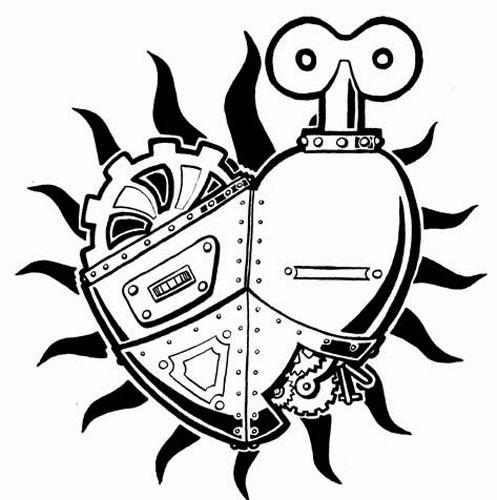 Gear heart biomechanical (steampunk) tattoo stencil