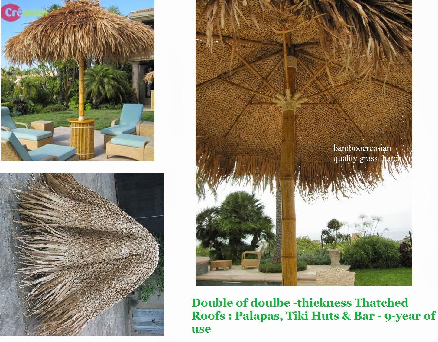 9 u0027ft asian thatch umbrella solid bamboo frame palapa set 14 u0027ft
