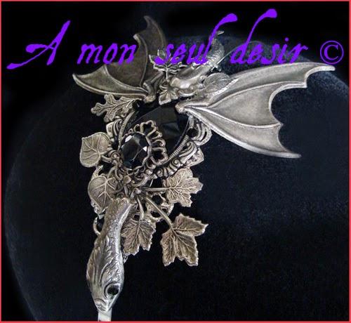 Serre-tête Dragon Noir Bijou médiéval renaissance Daenerys Targaryen Game of Thrones Skyrim Headband Smaug Headdress