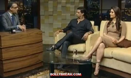 Kareena wearing a beige dress on komal nahta show - Kareena Kapoor With Komal Nahta
