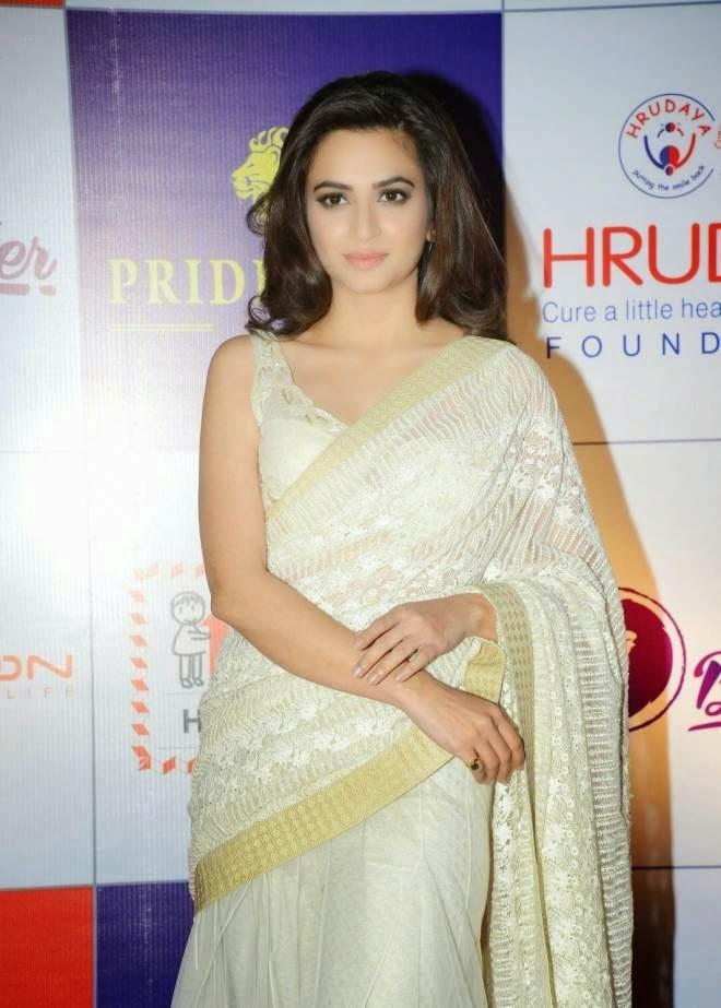 Kriti Kharbanda Hot Low Waist White Saree Photo