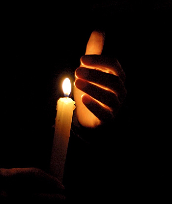 """candle in the darkness """"all the darkness in the world cannot extinguish the light of a single candle"""" – saint francis of asissi buy some and have your parish priest bless them for you always have a blessed candle in your home."""