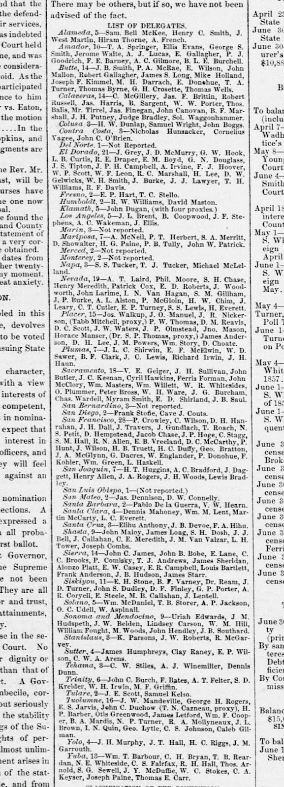 clipping from the sacramento daily union of july 14 1857 showing dan showalter as a delegate to the state s democratic convention