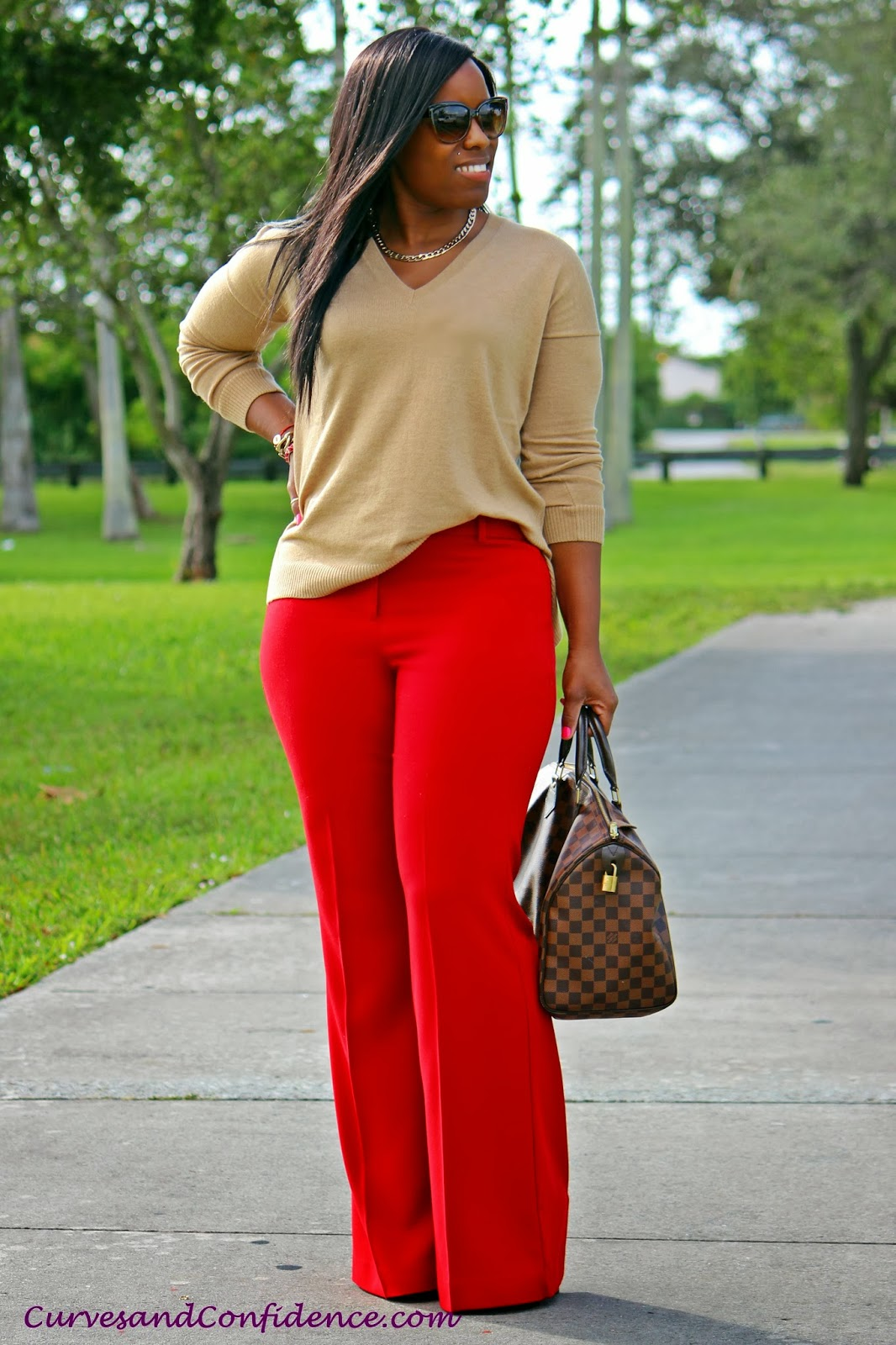 curves+and+confidene%2C+red+and+tan+outfit%2C+red+trousers%2C+tan+ ...