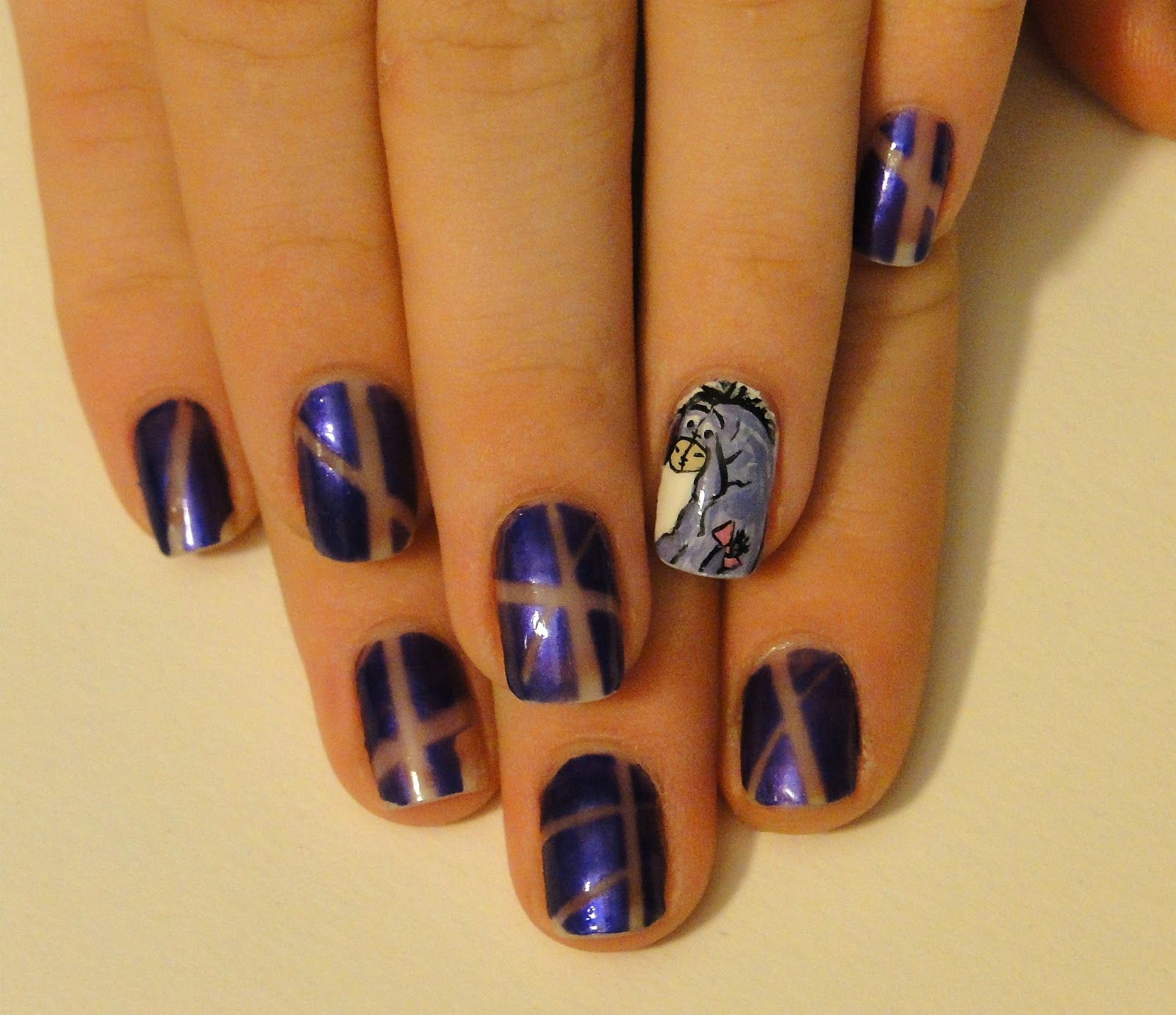 Nail Art Using Painters Tape: WeeklyWackyNails: Eeyore Nails!!! :