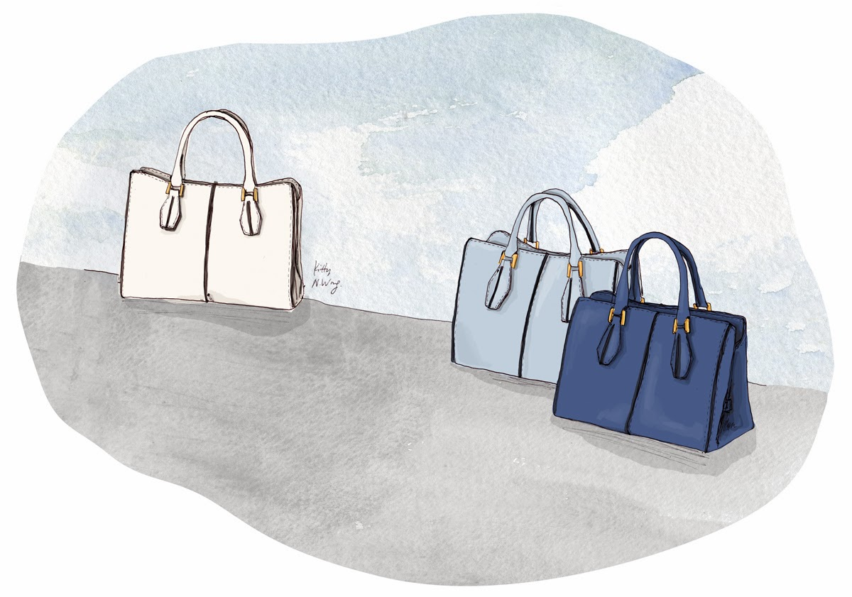Kitty N. Wong / Tod's D-Cube Shopping Bags Fashion Illustration