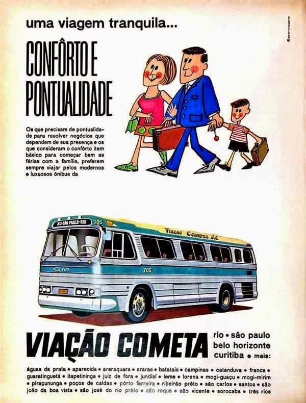Propaganda da Viação Cometa em 1968: conforto e pontualidade.