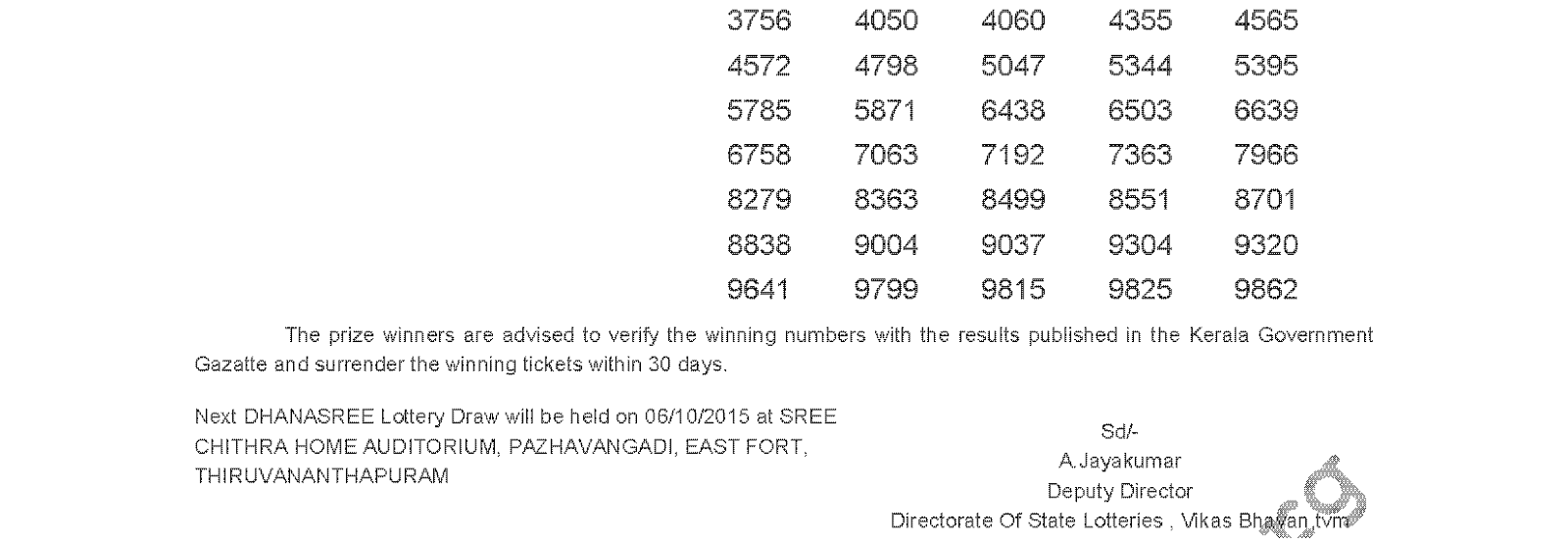 DHANASREE Lottery DS 205 Result 29-9-2015