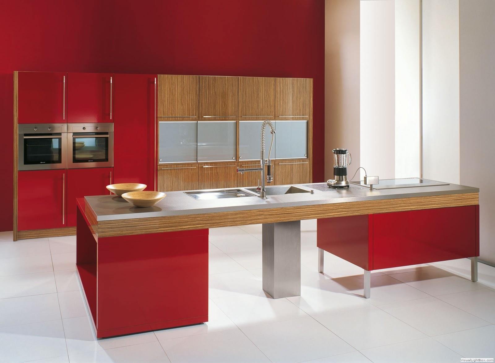 Un hermoso diseño de cocina roja estilo minimalista, con acabados en