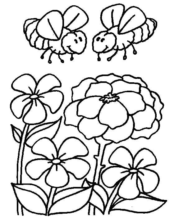 Honey Bees and Flowers | Animals Coloring Pages title=