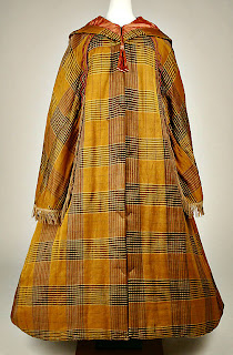 plaid pattern hooded cloak with capelet-front view