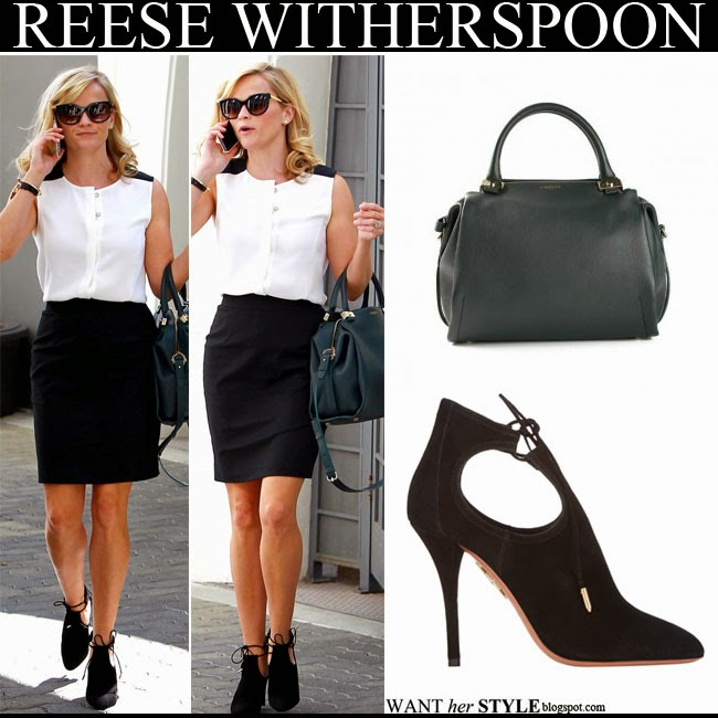 Reese Witherspoon in black suede Aquazzura Babe cutout sandals with green leather bag and black cat eye sunglasses september 12 want her style