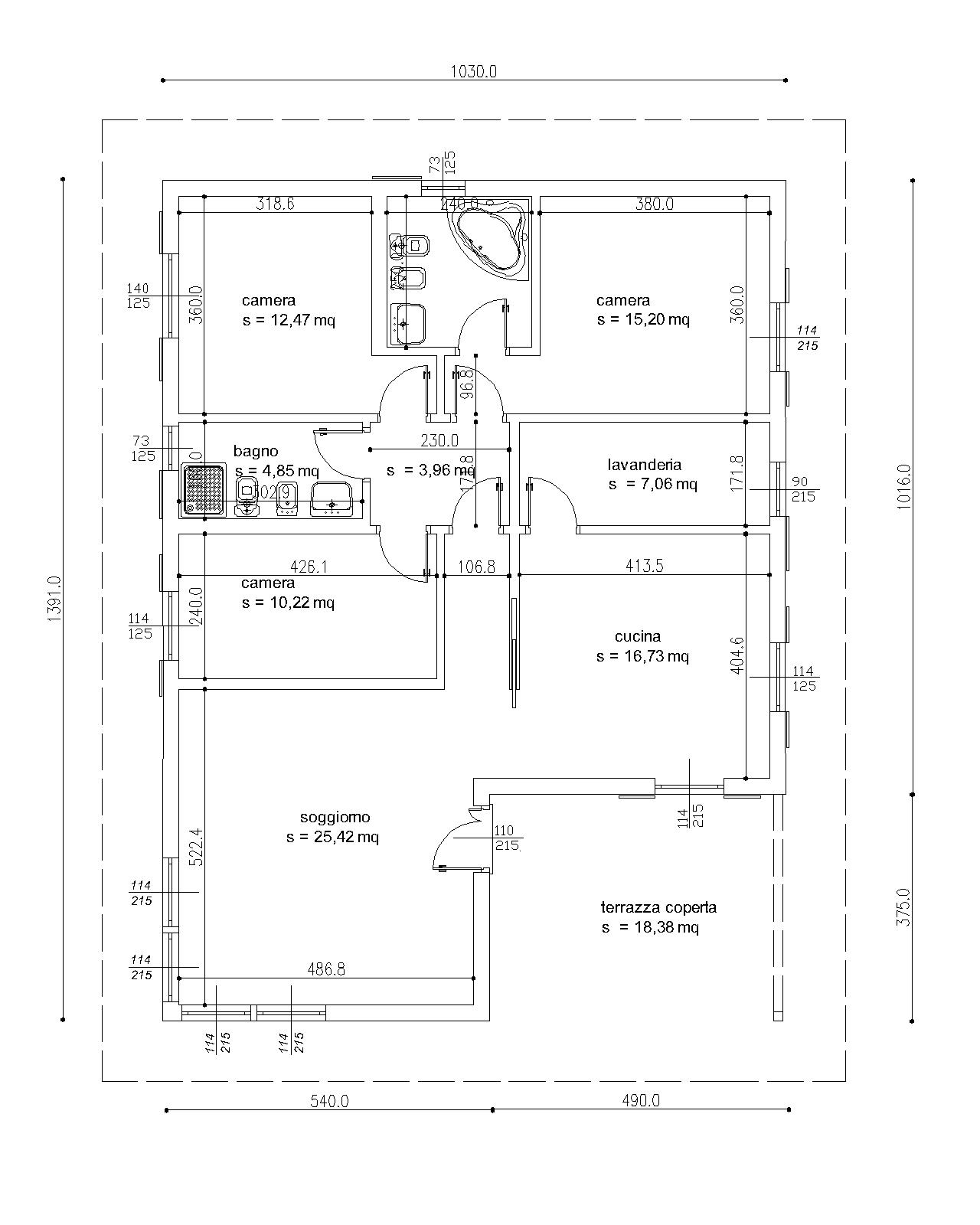 Case prefabbricate casa 125 mq portico 18 mq for Progetti di case prefabbricate