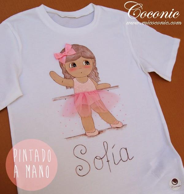 Camiseta pintada a mano de ni a bailarina en color rosa - Dibujos para pintar camisetas infantiles ...