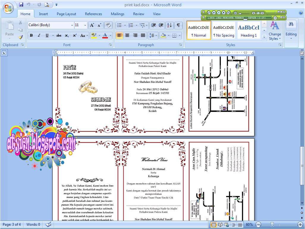 Cara Buat Kad Kahwin Guna Microsoft Word Berbagai Bekalan Rumah