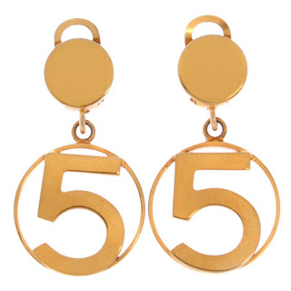 Vintage 1970's gold Chanel No 5 dangling earrings