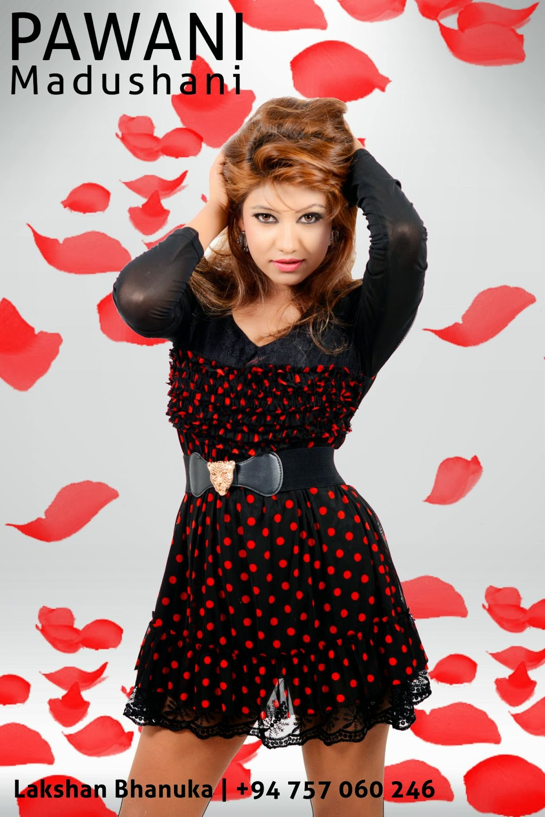 pawani red dots short dress legs