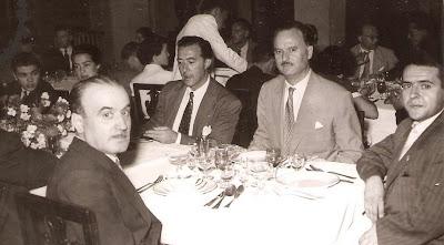 Comida de despedida del Match Internacional de Ajedrez Interclubs 1951 - mesa con ajedrecistas lisboetas