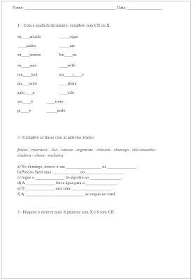 Atividade 3° ano - Exercicios ortograficos som de ch