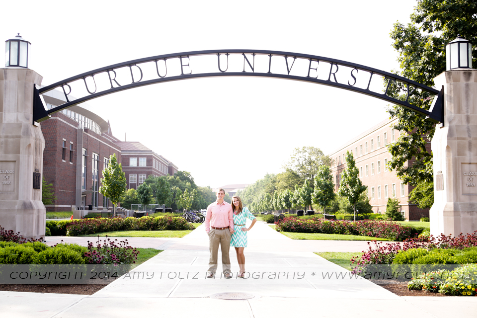 engagement photo at Purdue University