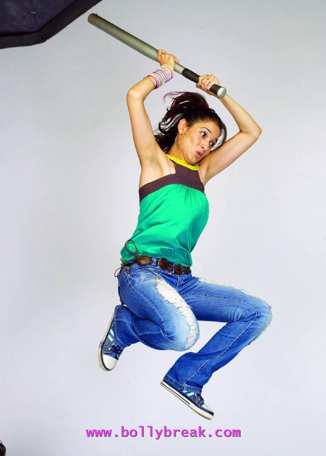Tamanna flying with baseball bat, green tOP - Tamanna bhatia Flying Pics
