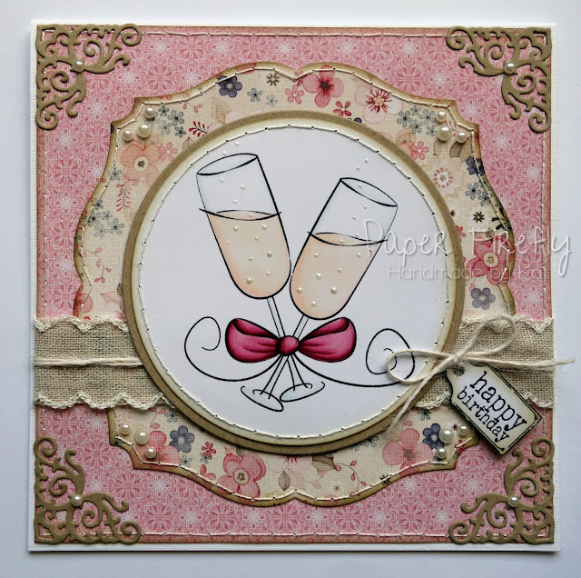 Girly birthday card with champagne glasses