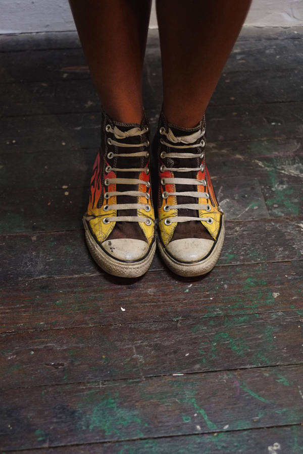 Hand painted 'Jungle Boots' sneakers.. China Heights Gallery.