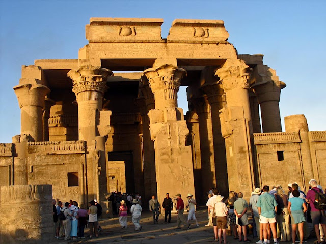 tourists at the Kom Ombo temple in Egypt