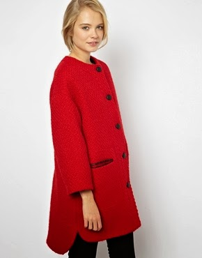 ASOS Collarless button front coat, $125.93