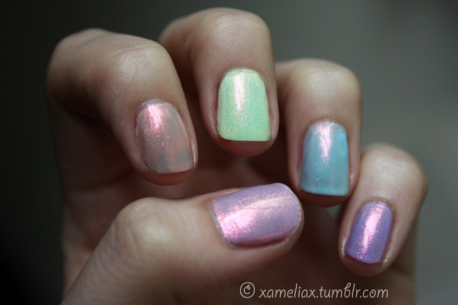 ♥. amelia paints nails .♥.: .Iridescent Pastel Rainbow.