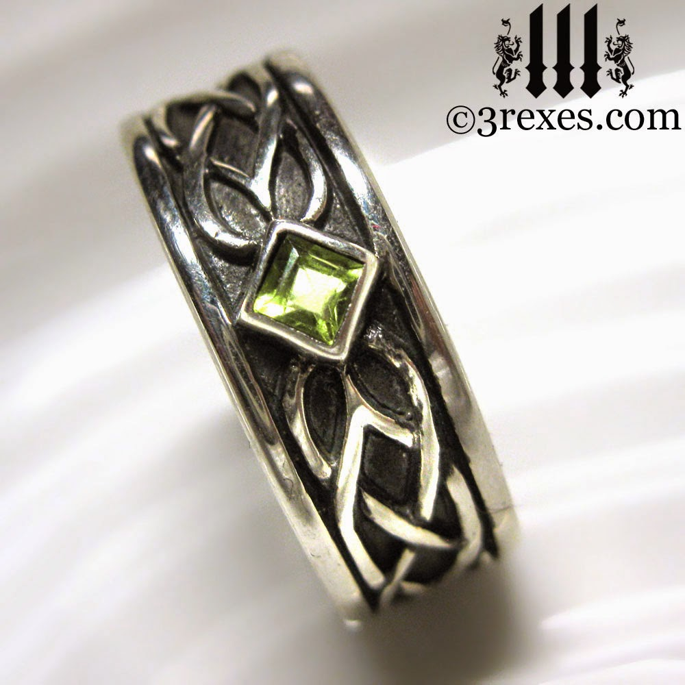 mens silver celtic soul engagement ring green peridot stones august birthstone jewelry by 3 rexes jewelry