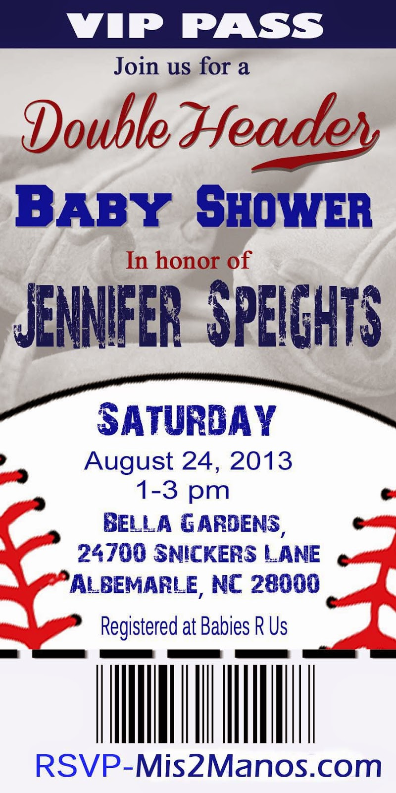 Mis 2 Manos Made by My Hands BASEBALL BABY Shower Invitation