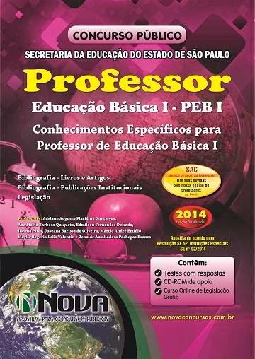 Apostila SEE - Secretaria da Educação de SP para Professor Educação Básica I - PEB I Concurso 2014
