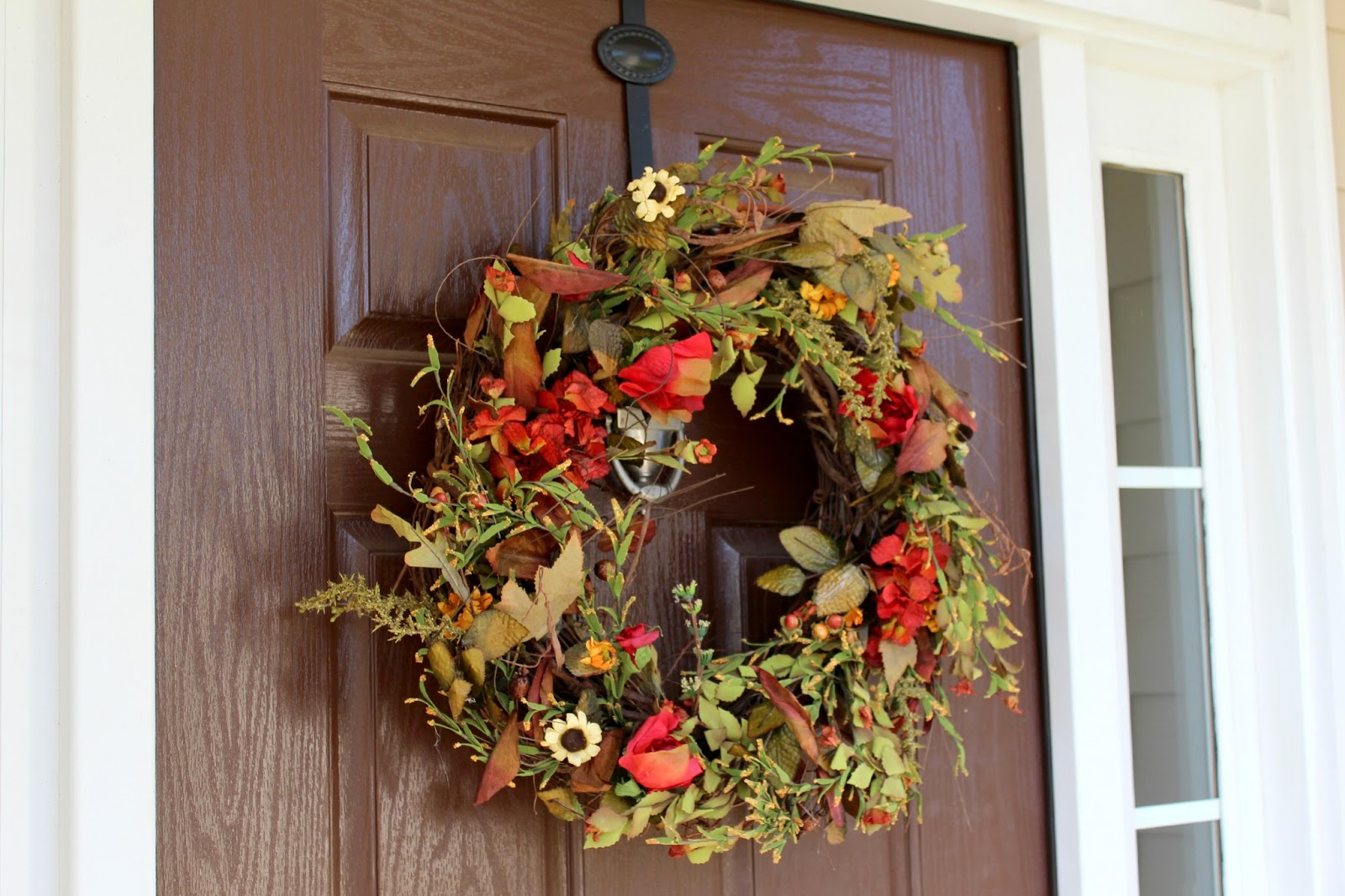 Ten june a natural fall front door wreath a wreath Fall autumn door wreaths