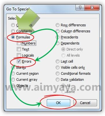 Gambar: Menggunakan opsi formula error untuk menemukan kesalahan di Microsoft Excel
