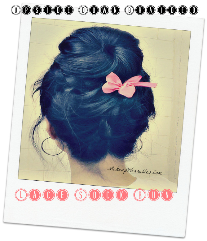 Step-by-Step, How to ballerina upside down braided sock bun with lace braids.  Hair tutorial for medium long hair - wedding, prom look