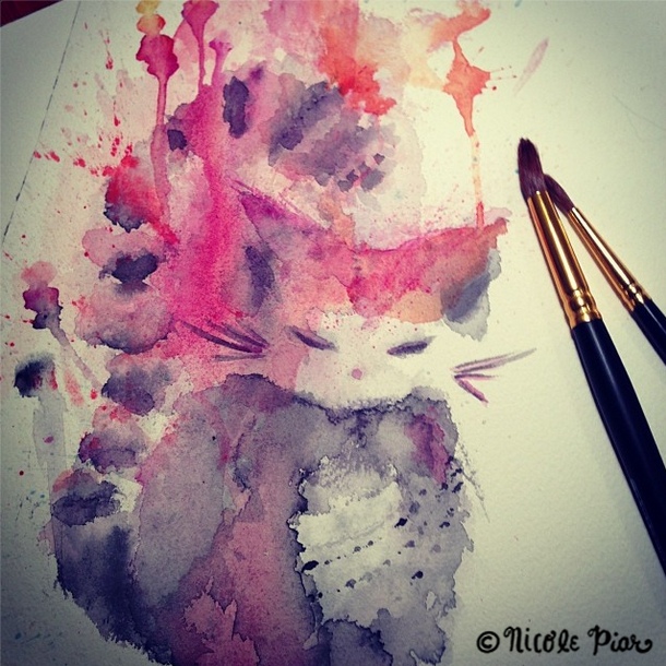 Pink Blue Grey Anime Cat Painting by Nicole Piar