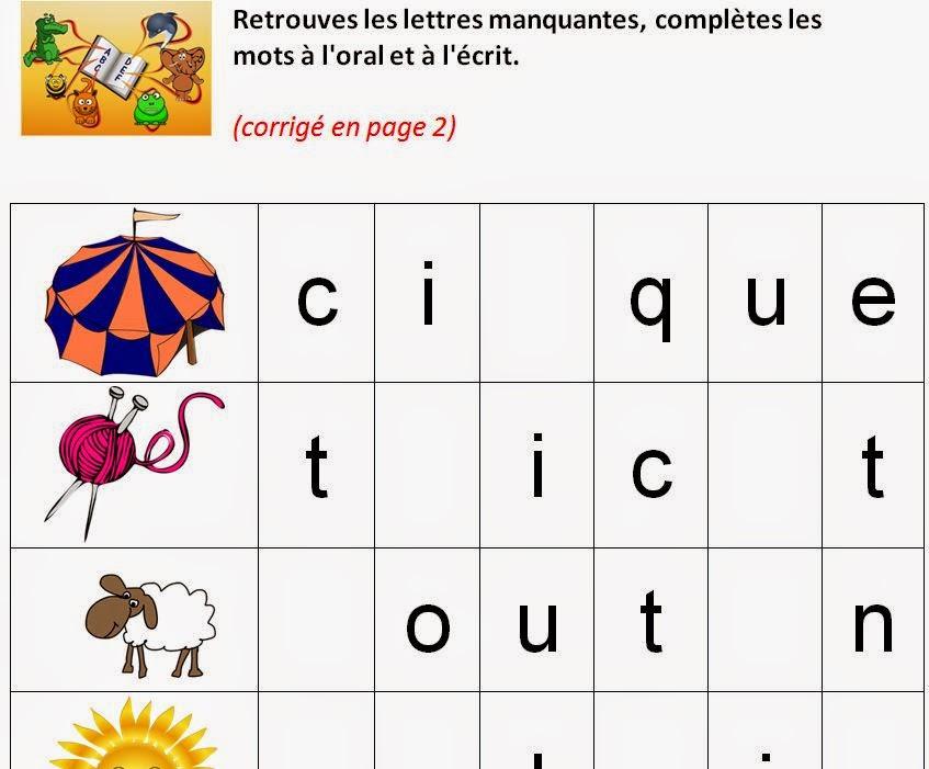 Lettres script, retrouver les lettres manquantes pour construire le mot (maternelle GS, Primaire CP)