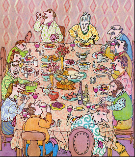 illustration by William Steig of a family together at a  thanksgiving day dinner