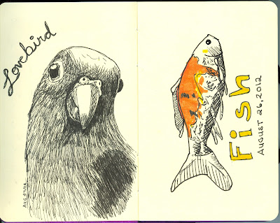 Lovebird and Fish - Pen and Ink and Watercolour - by Ana Tirolese ©2012
