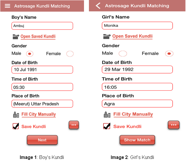 match making by kundli Online marriage matching or kundli milan benefits you to discovery right life partner it gives matching facts based on asta koota method and kuja dosha check and birth chart analysis for free in hindi and english from our latest horoscope matching software.