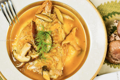 Pescetarian Journal: Baked Haddock in Mushroom Broth with Polenta #WeekdaySupper