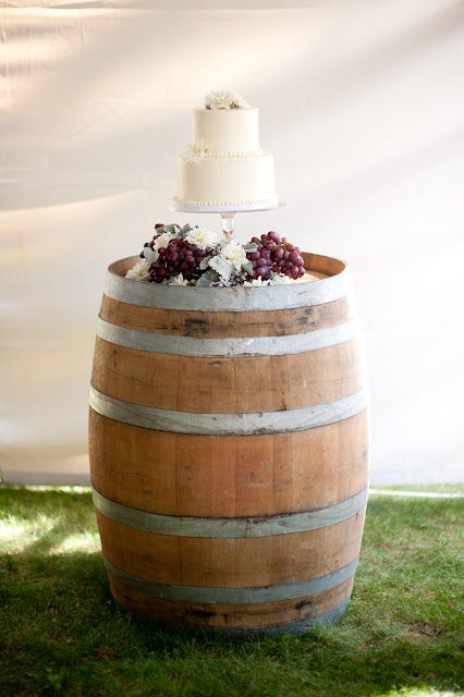 Simple Wedding Cake on Wine Barrel  Minneapolis Weding