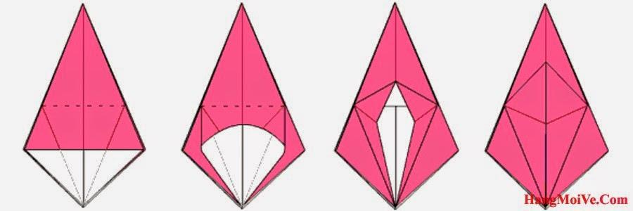 Bước 11: Từ hình 1 ta mở lớp giấy lên theo chiều từ bên trong ra bên ngoài (hình 2),  hướng từ dưới lên phía trên (hình 3) rồi gấp xuống ta được hình 4.