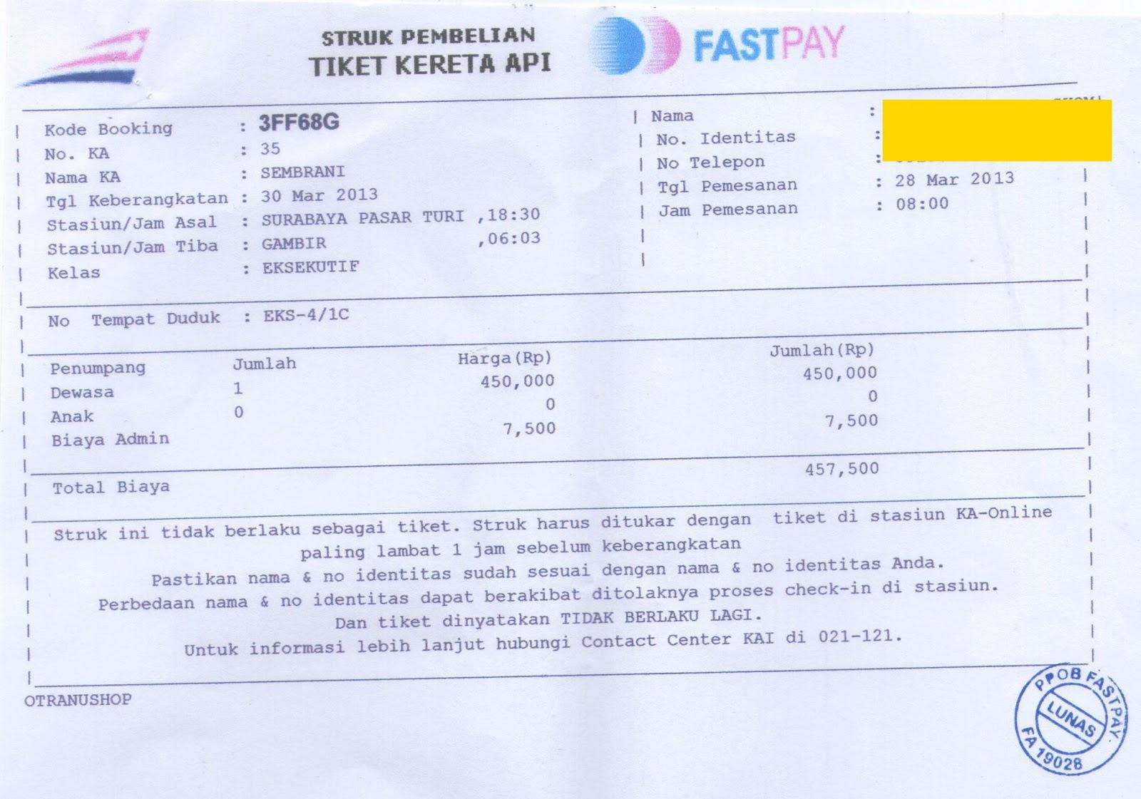 Contoh struk pembelian tiket kereta api loket resmi pembayaran online contoh struk pembelian tiket kereta api stopboris Gallery