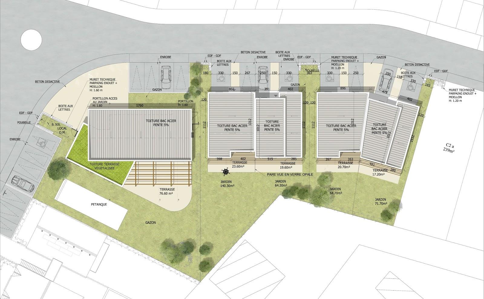 Archicop groupe salle polyvalente et maisons de ville for Plan masse architecture