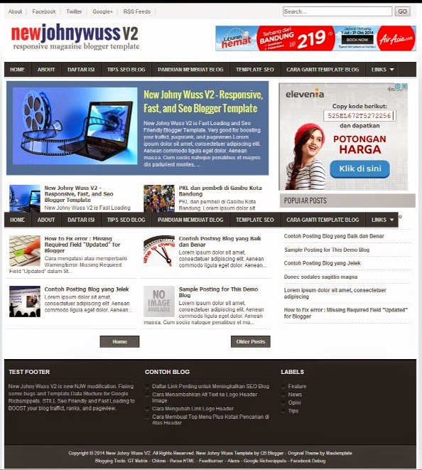 New Johny Wuss V2 -  Template Blog SEO Fast Responsif