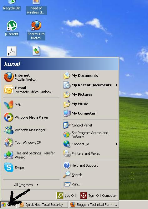 start menu in task bar